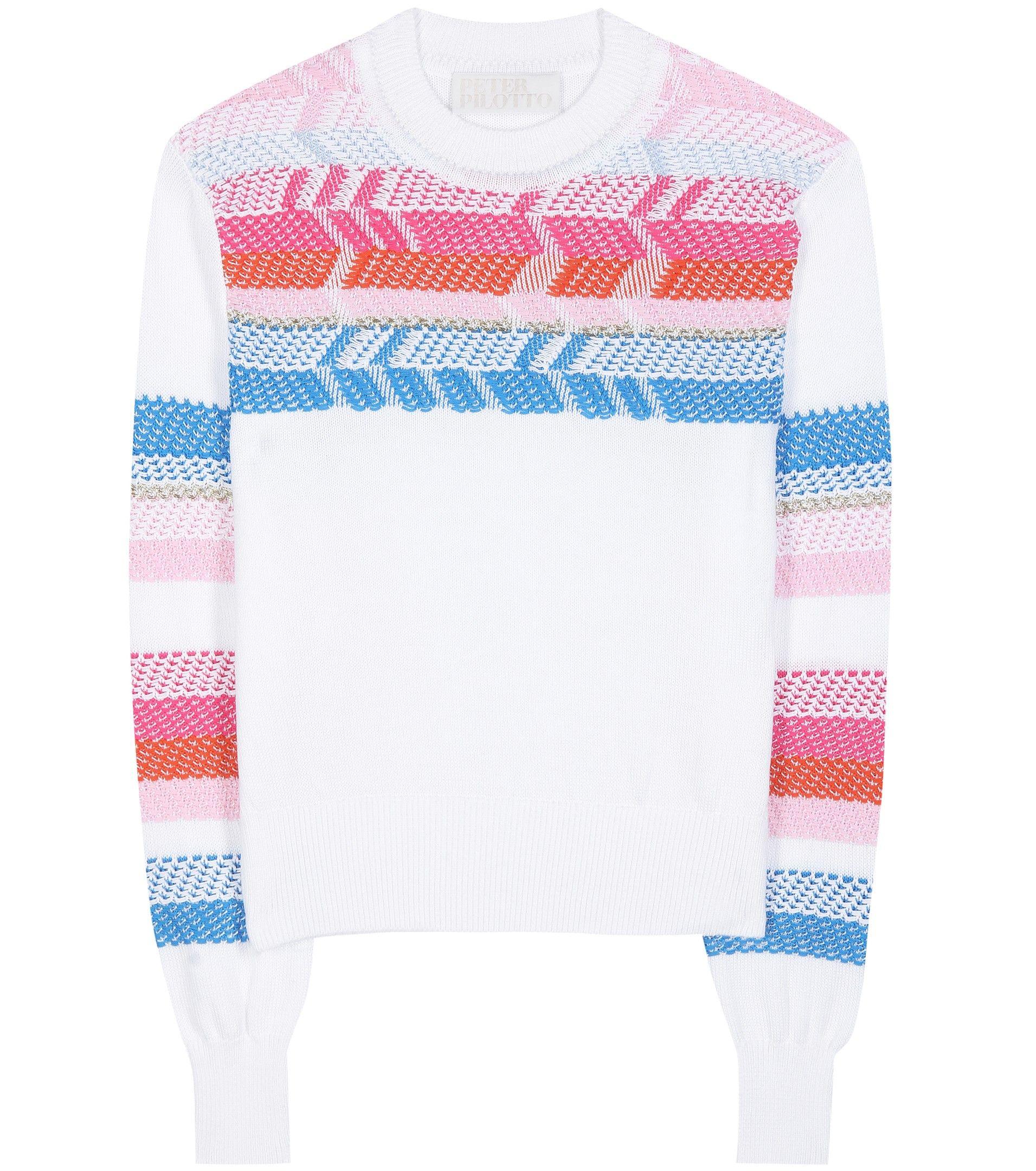 Peruvian Knit White Cotton Sweater By Peter Pilotto