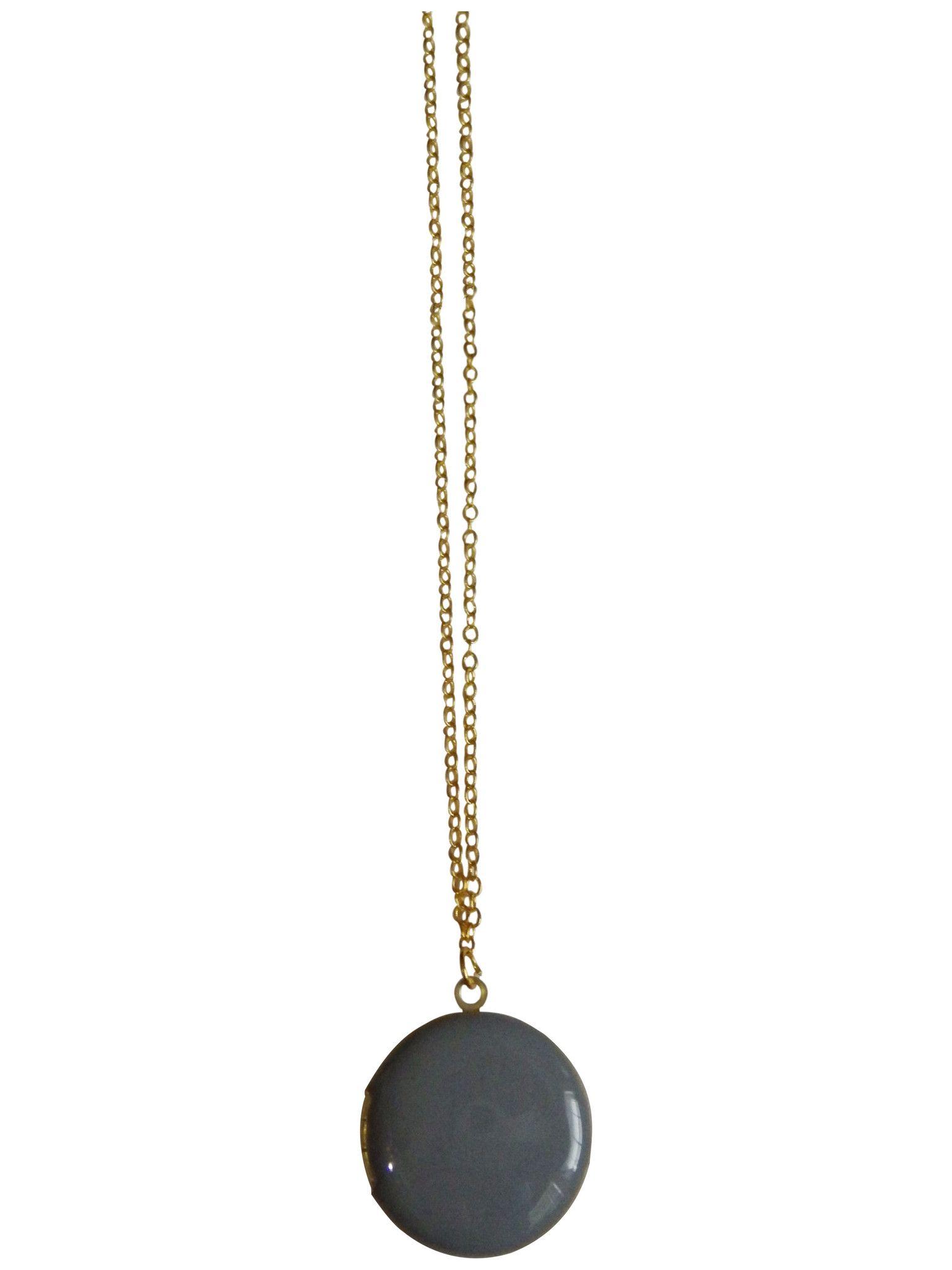 Light Gray Circle Locket Necklace