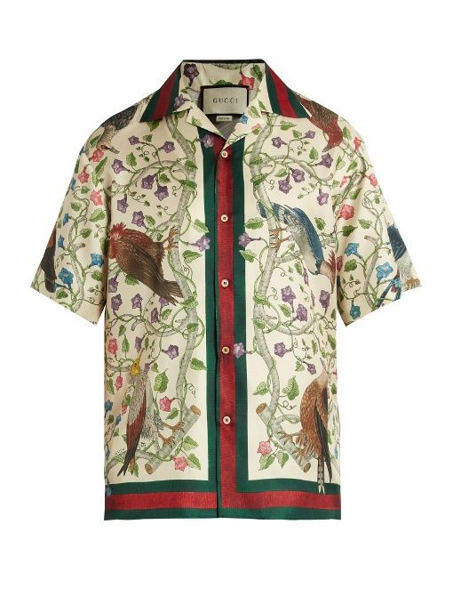 b76195ab2ca9d Gucci Birds of Prey-print silk-twill shirt