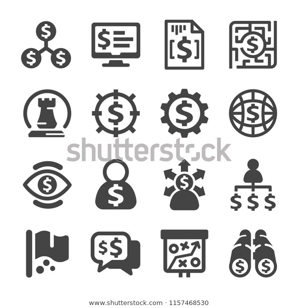 Business Strategy Icon Set Stock Vector Royalty Free 1157468530