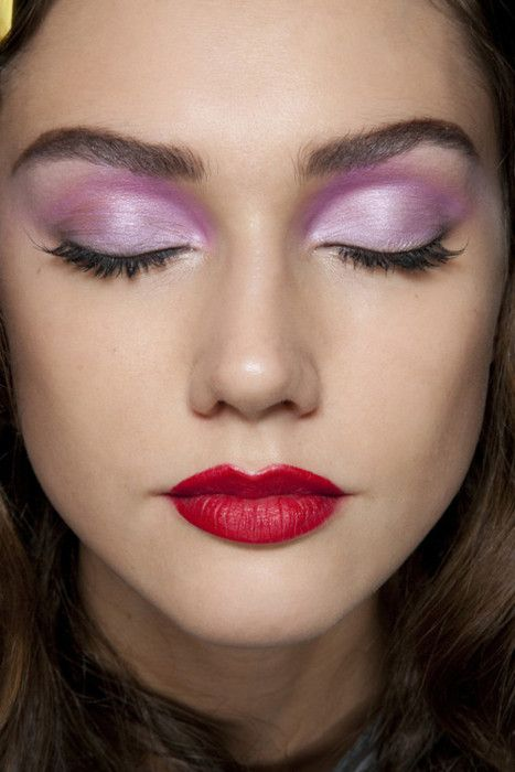 Lavender Pink And Purple Eyeshadow Red Lips Makeup Purple