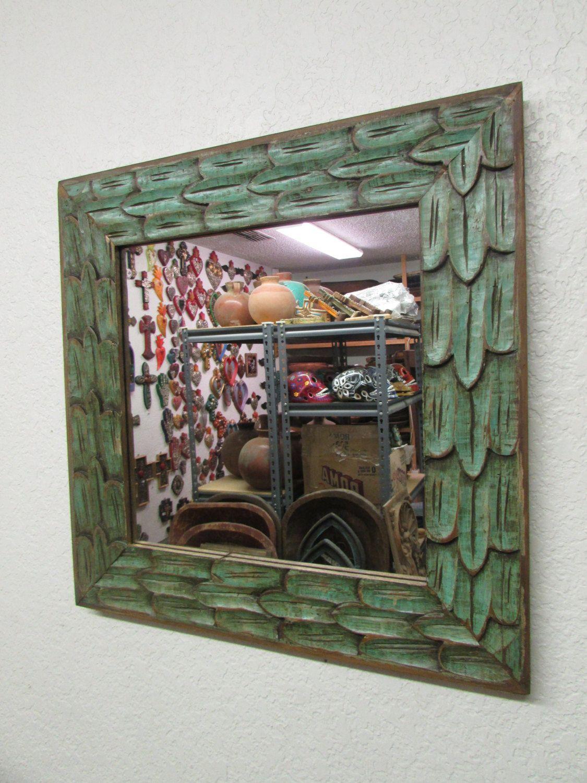 Antique old door carved rustic mirror mexicanxu paraszthaz