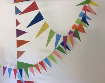 Colourful Banner | Bright Garland | Rainbow Triangle Wall Hanging |  Weddings, Baby Shower,