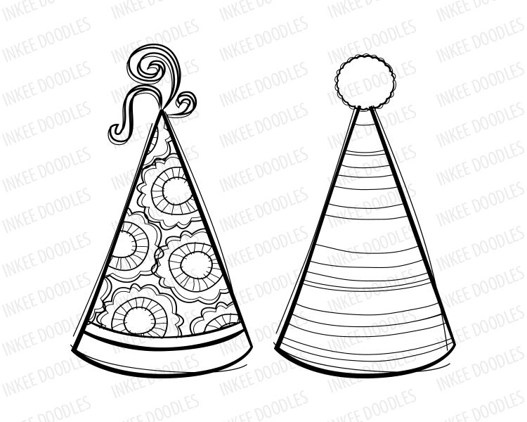 Party Hats Digital Stamps Cute Kids Birthday Black Clip Art For Scrapbooking Educational Personal Commercia Birthday Clips Clip Art Vintage Digital Stamps