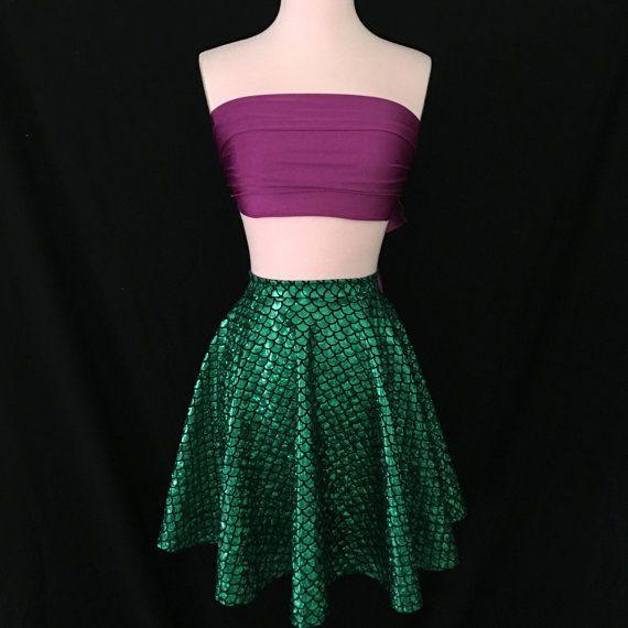 Green Mermaid Skirt the Little Mermaid Costume Retro Full - green dress halloween costume ideas