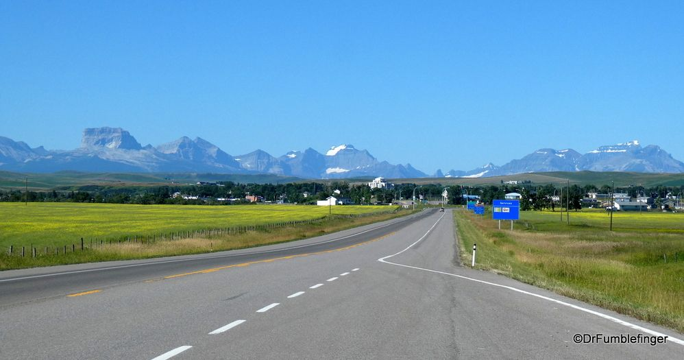 Approaching Cardston, Alberta Waterton national park