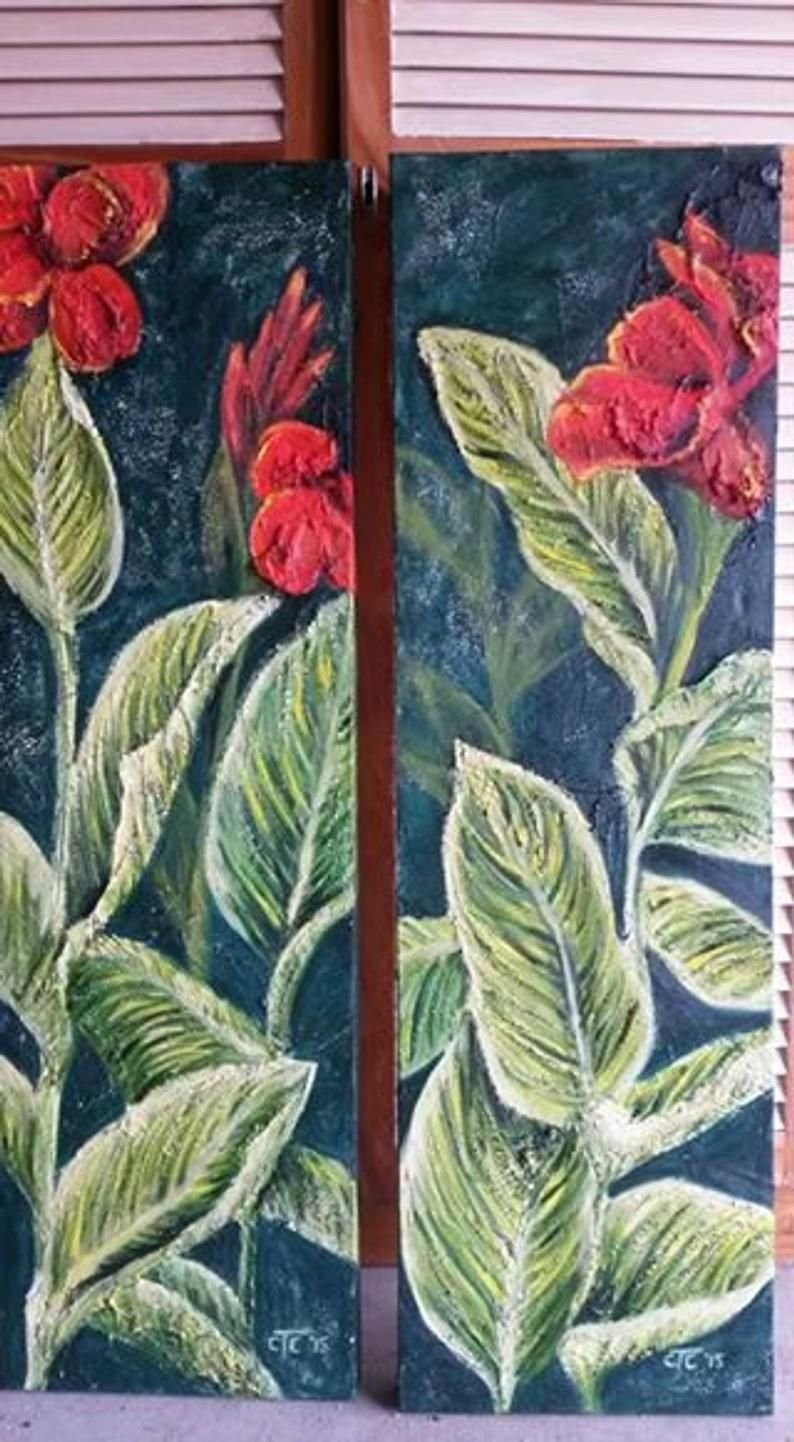 Painting of Cannas with red flowers and leaves. Original