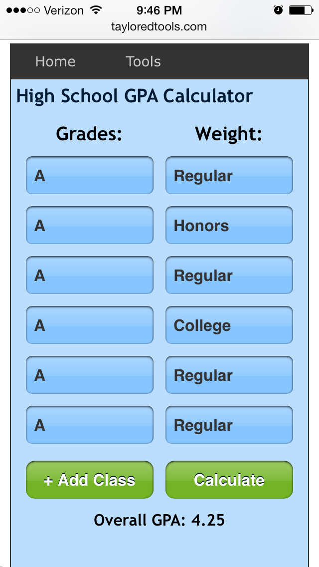this gpa calculator is simple mobile friendly gpacalculator