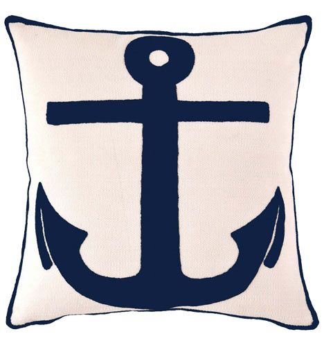 Marvelous Indoor/Outdoor Anchor Pillow   Navy Images