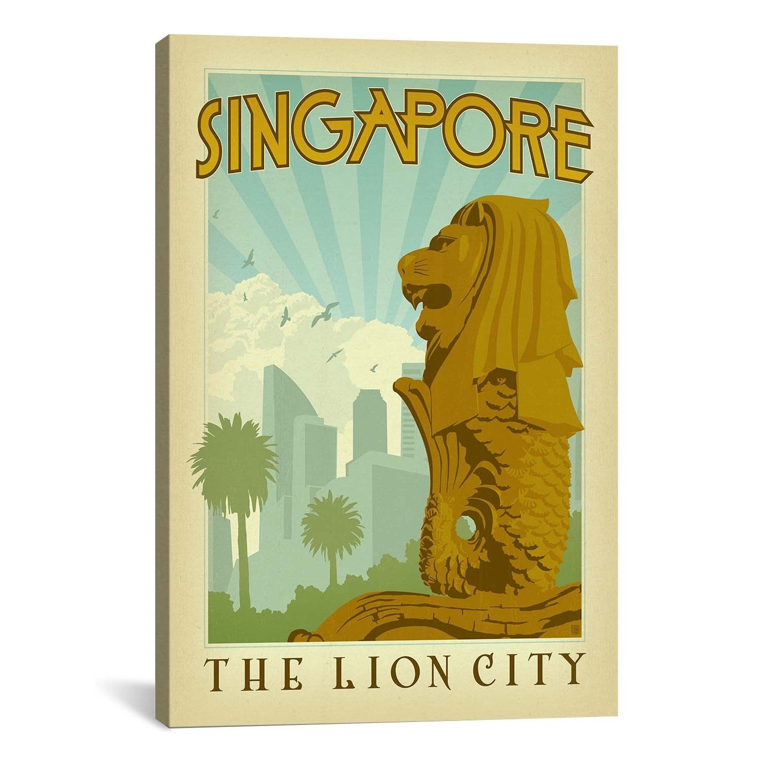 iCanvasART Anderson Design Group The Lion City - Singapore Canvas ...