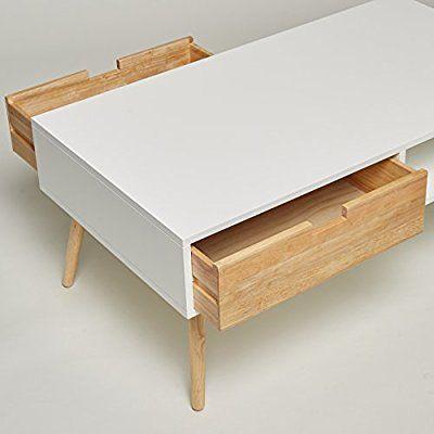 Couchtisch \/ Lowboard \/ TV-Tisch weiß natur mit 2 Schubladen