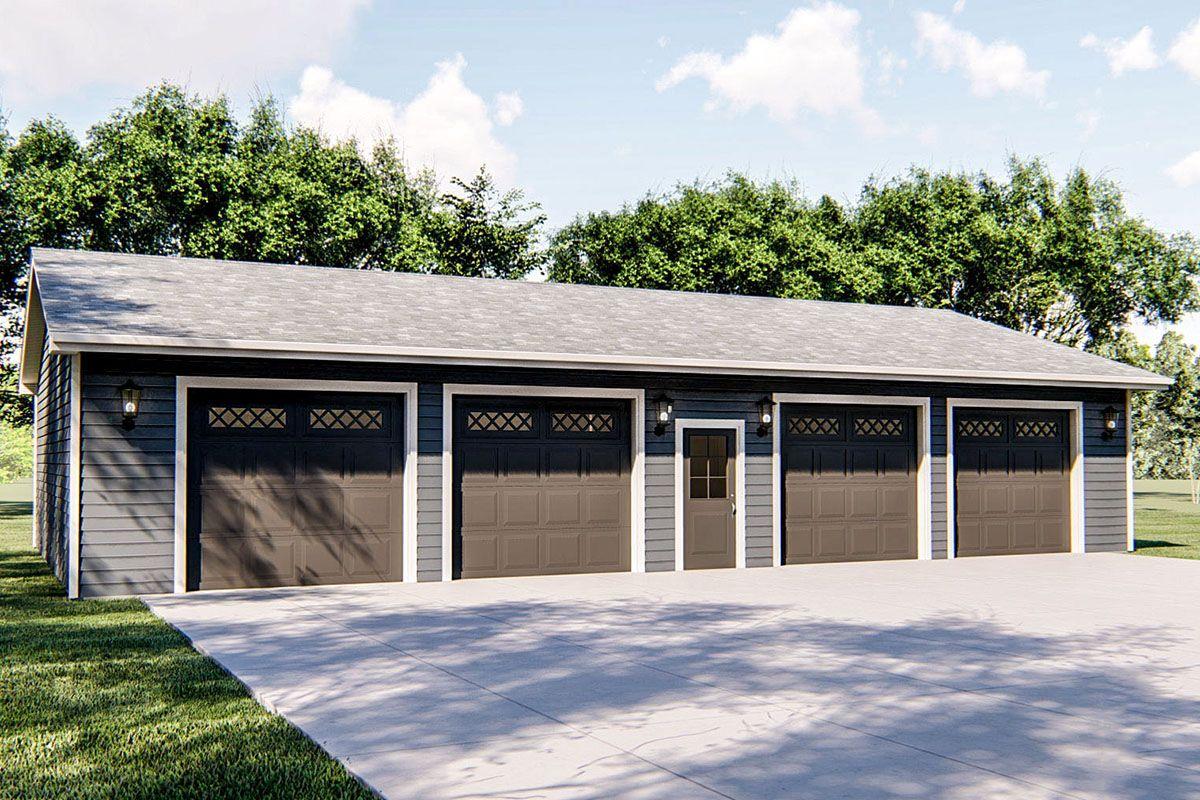 Plan 62851dj Detached Garage Plan With Four Separate Bays In 2021 Garage Plans Detached Detached Garage Cost Architectural Design House Plans