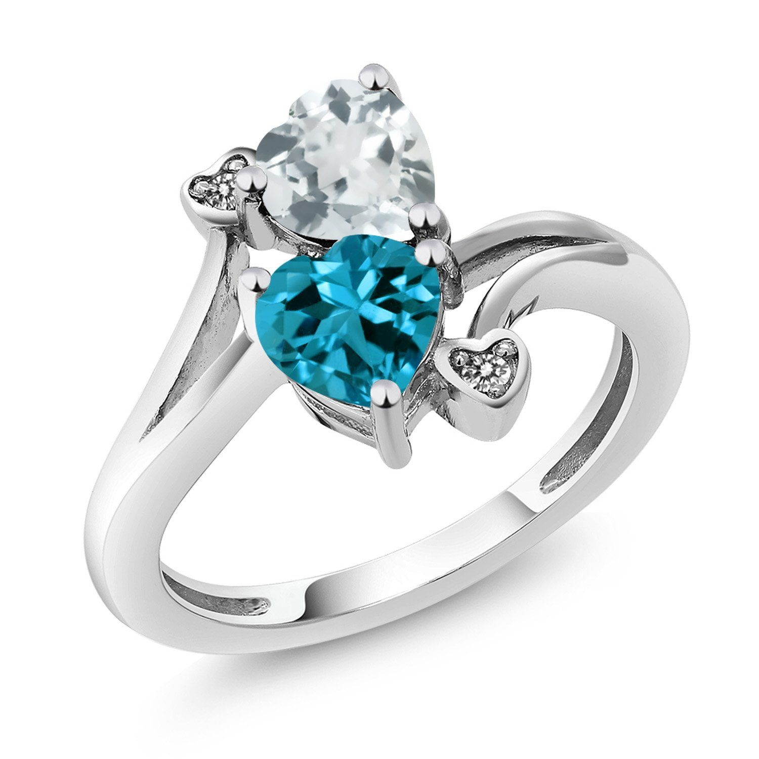 3mm Solid 925 Sterling Silver Light Swiss Blue Simulated Topaz /& Diamond Ring