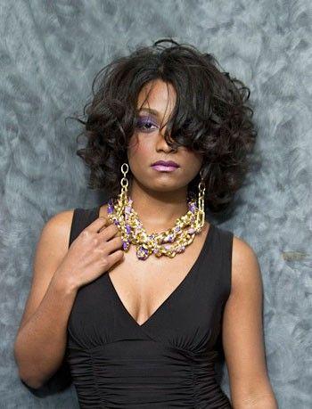 African American Medium Length Curly Black Human Hair Full Lace Wig