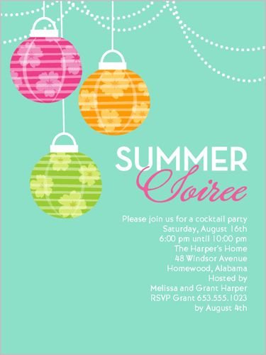 summer soiree summer invitation | party invitations, Party invitations
