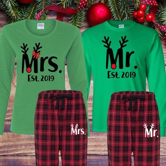 84eb325a101 Matching Christmas pajamas - Adult Christmas pajamas women - Mr and Mrs  Personalized - Couples Christmas Long sleeve pajamas. More colors available.