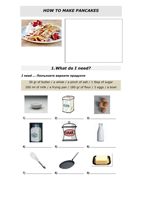 Pancake Recipe Interactive Worksheet In 2020 Cookery Esl Classroom Worksheets