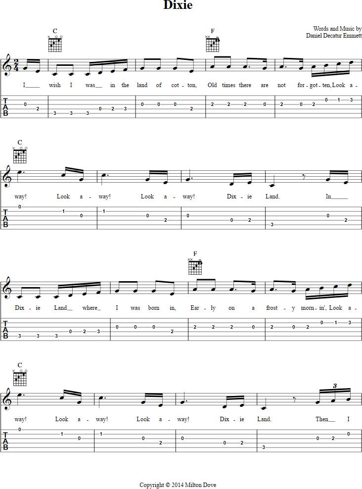 Dixie Guitar Tab Page 1. View the whole song with chords, lyrics ...