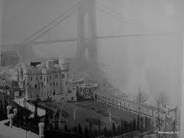 THe Paterno Castle with the newly built GW Bridge in the background. The pillars in the bottom left corner of the photograph still stand today though the castle was demolished.