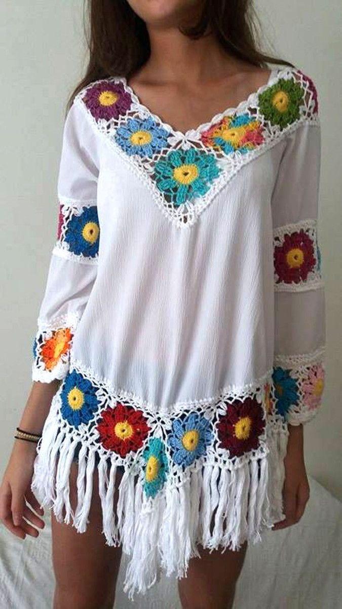 cfdef4218 blusa crochê e crepe estilo bojo com fra | Ponto das Cores | Elo7 ...
