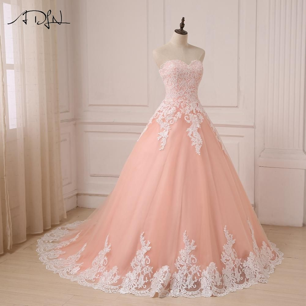Coral Sweetheart Sleeveless Tulle Wedding Gowns Ball Gown Ball
