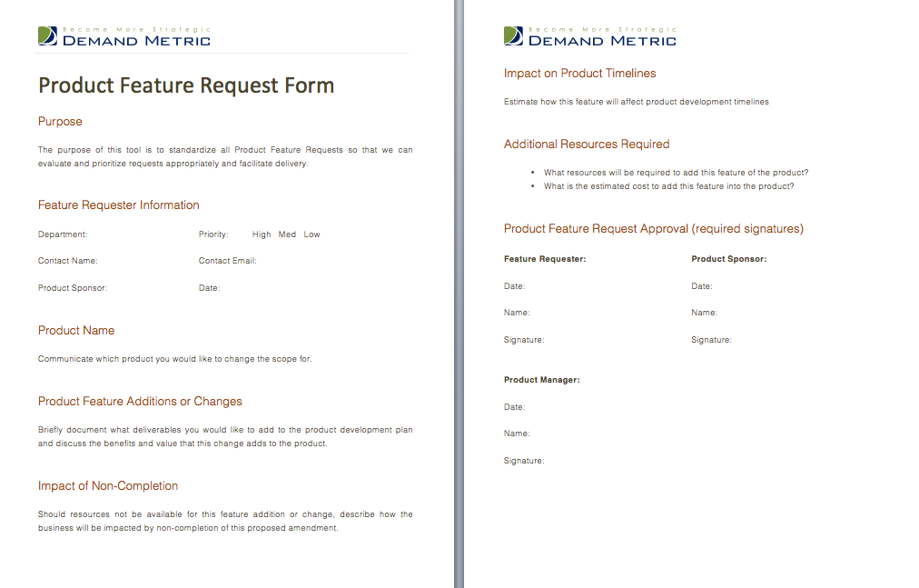 Product Feature Request Form  A Form That Evaluates And Helps To