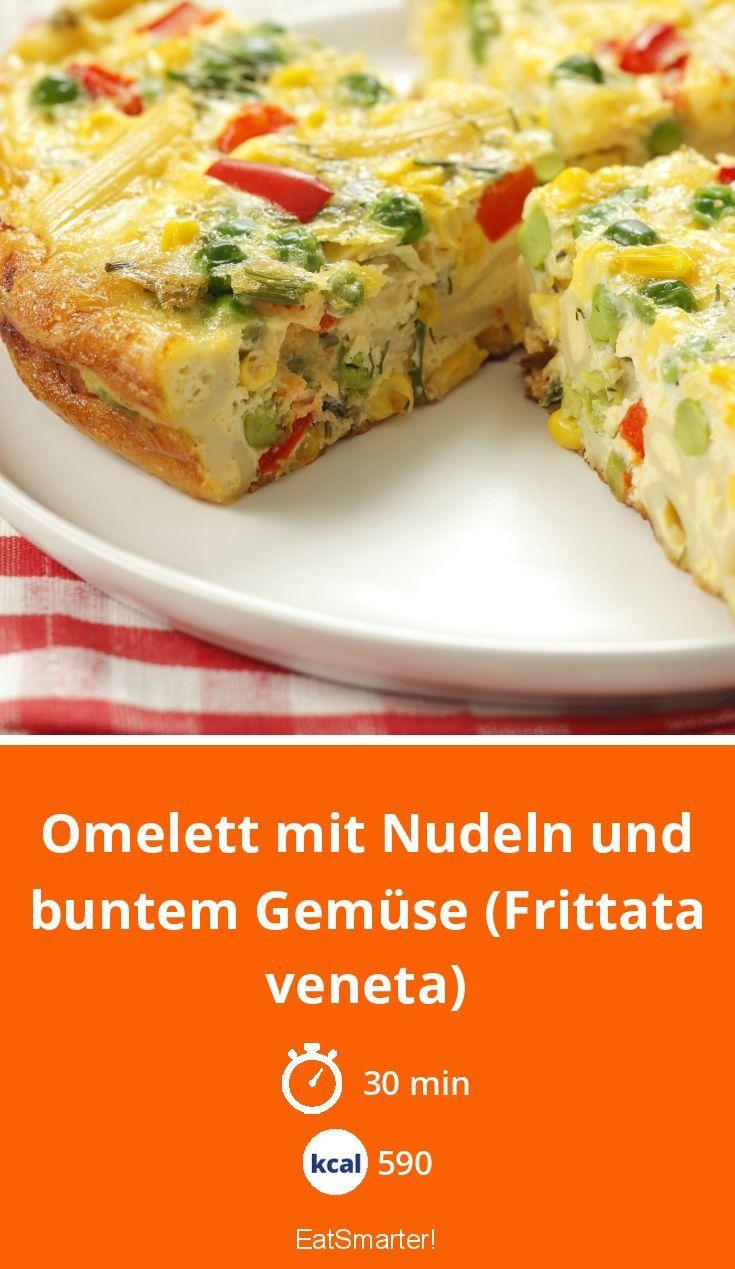 Omelett mit Nudeln und buntem Gemüse (Frittata ven