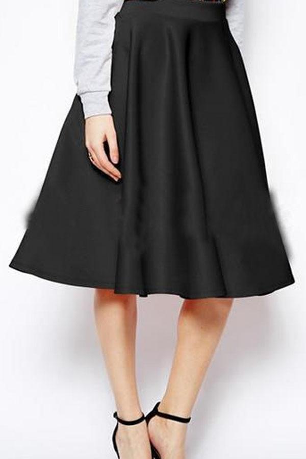 Solid+Color+A+Line+Stylish+Midi+Skirt+#Solid+#Skirt+#maykool