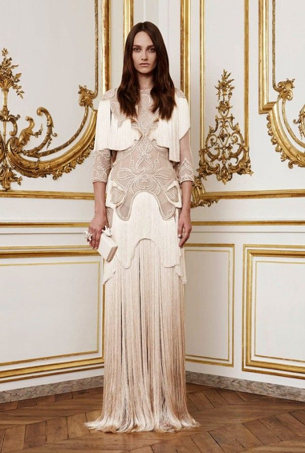 Givenchy Paris draped fringed gown from 2010, but with authentic Art Nouveau motifs. Designed by Ricardo Tisci.