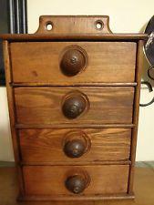 Victorian Antique Primitive Oak Wood 4 Drawer Hanging Spice Cupboard Cabinet