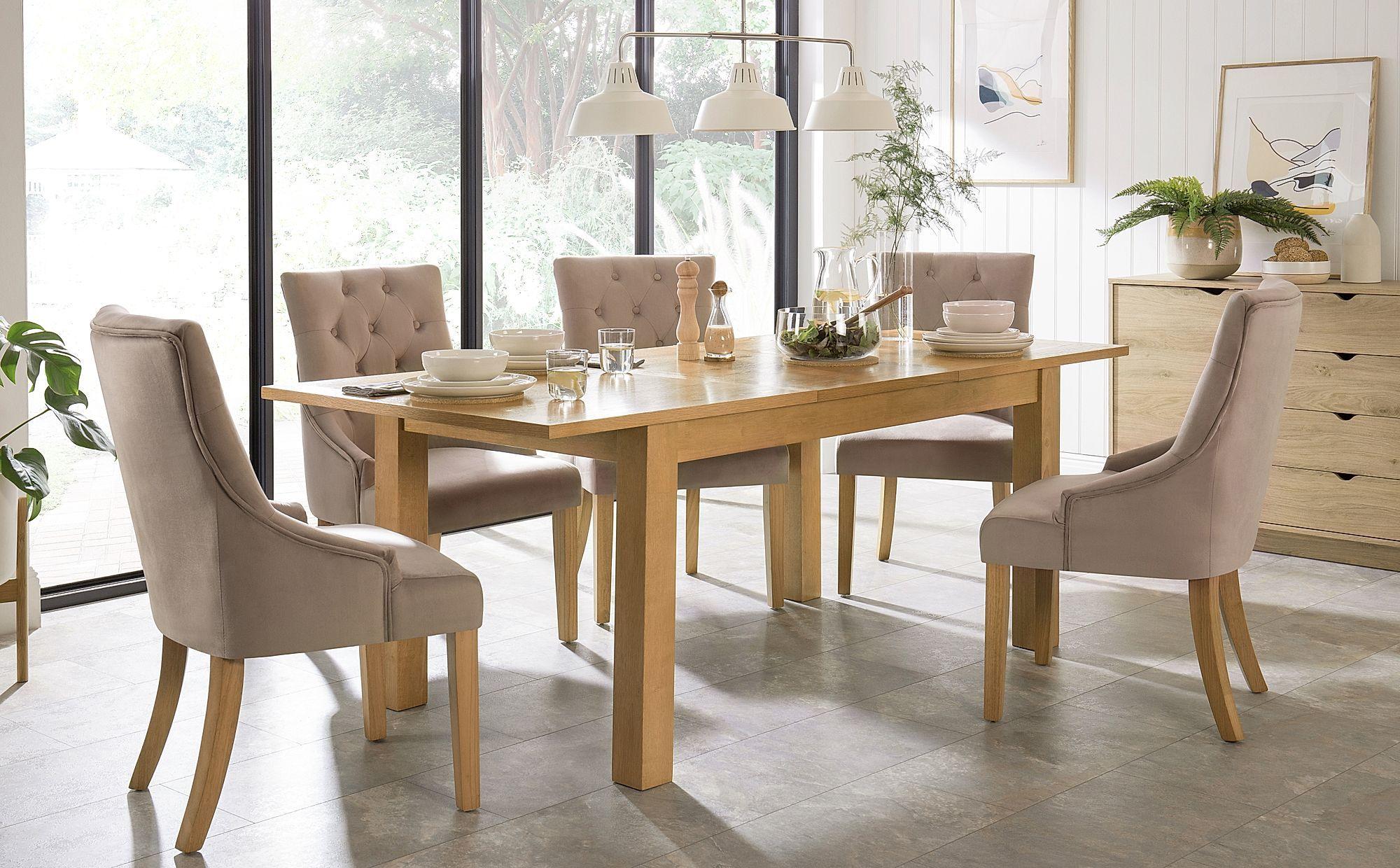 Hamilton Oak 150 200cm Extending Dining Table With 4 Duke Mink