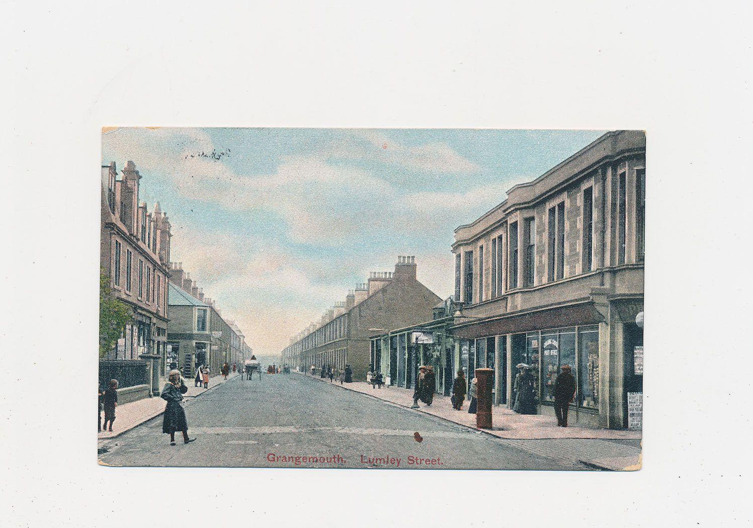 vintage Scottish postcard, street view Grangemouth, 1912 by mudintheUSA on Etsy