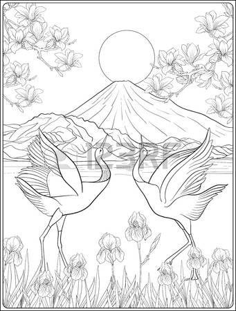Stock Vector | Japanese drawings, Coloring book art ...