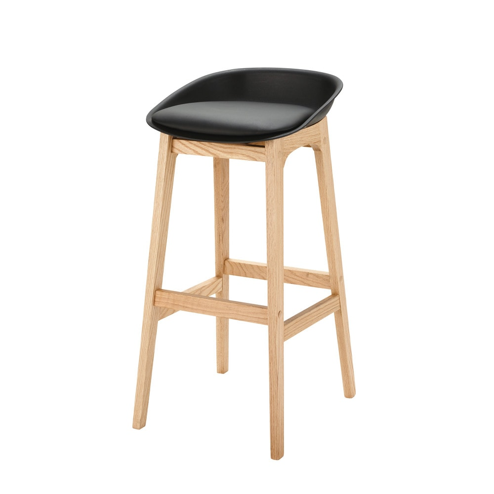 Tabouret de bar scandinave noir et ch ne massif for Tabouret bar scandinave