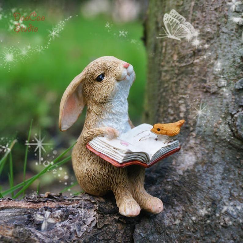 Cute Bunny Fairy Miniature  , Tiny Rabbit Reading