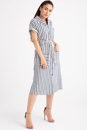 3880 Cizgili Onu Dugmeli Elbise Elbise Modelleri Elbise Elbiseler