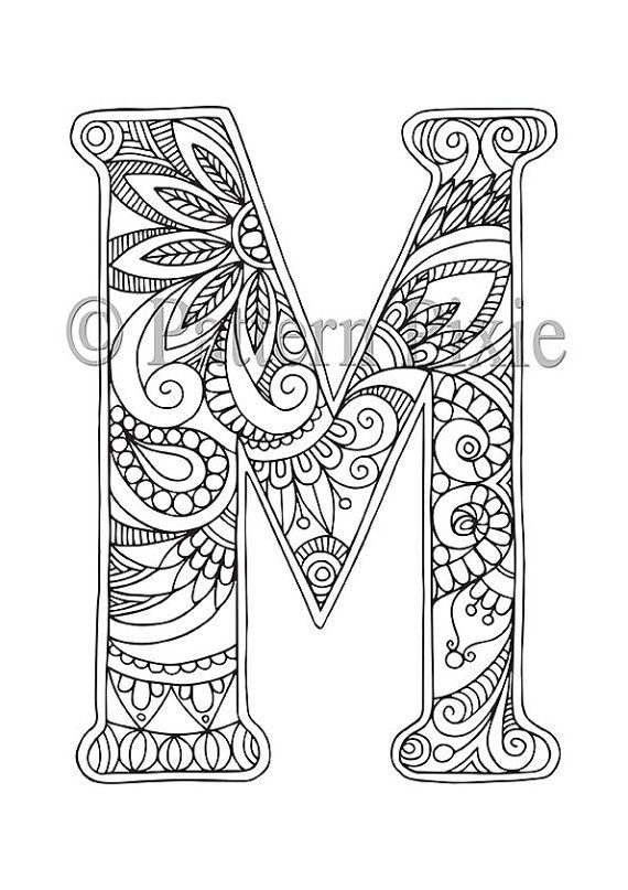 adult colouring page alphabet letter m zentangle mandala para imprimir abecedario. Black Bedroom Furniture Sets. Home Design Ideas