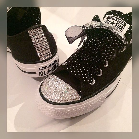 9a91d705a Custom Swarvoski Crystals Converse All Star Black Custom Black Chuck Taylor  Converse features double-tongue in Polka Dot and floral prints. with 100%  ...