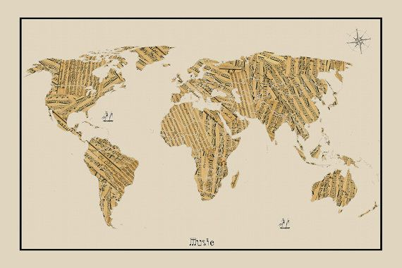 Large Map Of The World Poster.World Map Sheet Music Map World Map Map Of The World World Map