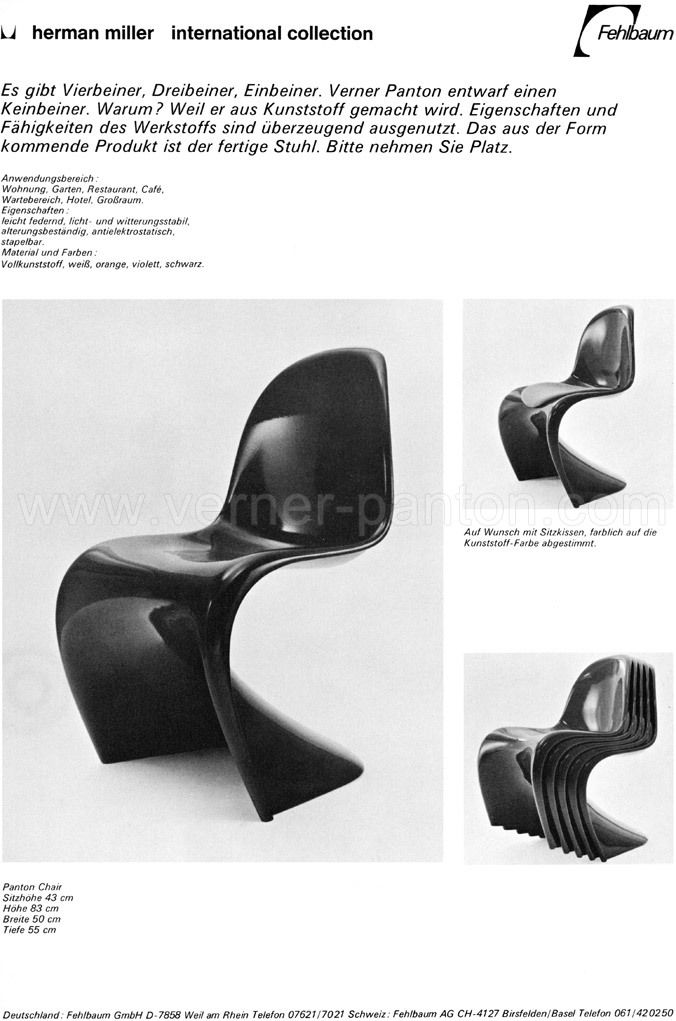 Panton Stuhl Original all versions were developed in cooperation between the