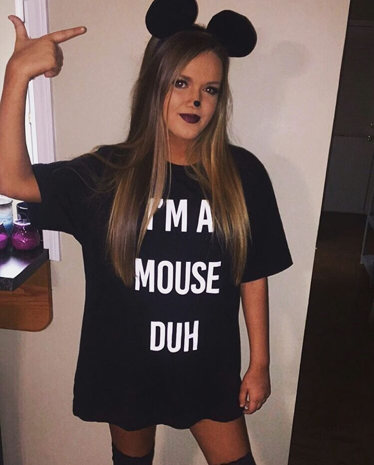 Im A Mouse Duh T Shirt Funny Halloween Ladies T Shirt Girls Scary Costume Fancy