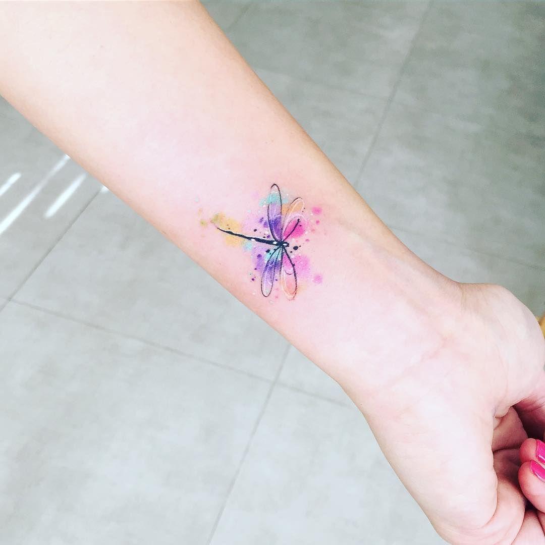 """Javi Wolf on Instagram: """"Dragonfly watercolor diseño propio! Agenda abierta !! Info al correo electrónico que subo en las fotos :) #dragonfly #watercolor #tattoo…"""""""