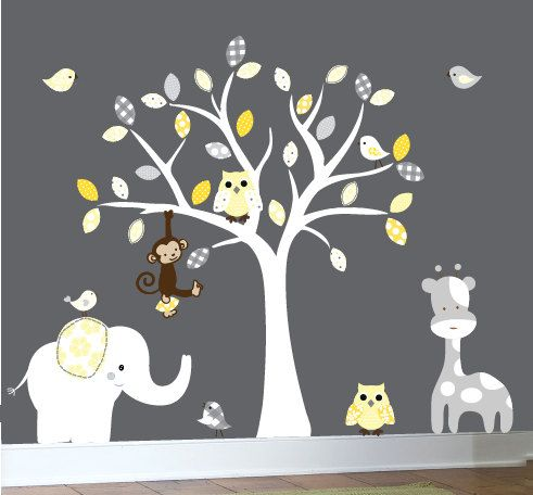 I'd love to paint this tree with owl and birds. (Vinyl wall decal nursery tree wall decal by couturedecals on Etsy, $129.00)