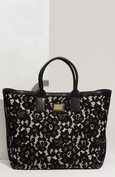 c5ca70db123a Dolce   Gabbana Miss Alma Lace Lambskin Leather Tote in Black - Lyst ...