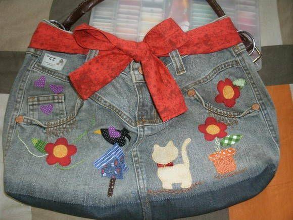 Bolsa De Calça Jeans Com Fuxico Passo A Passo Fácil 48