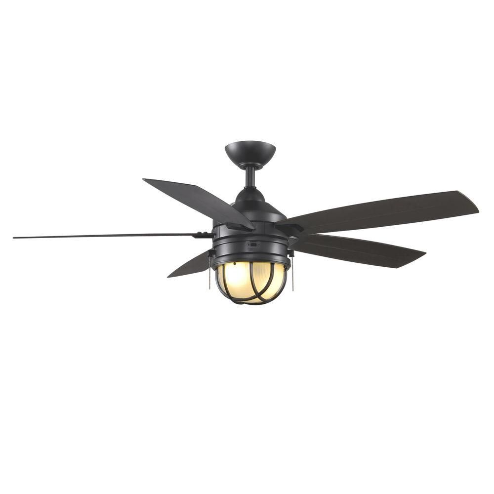 Indoor/Outdoor Natural Iron Ceiling Fan with Light Kit - Shop Hunter Allegheny 52-in New Bronze Outdoor Flush Mount Ceiling