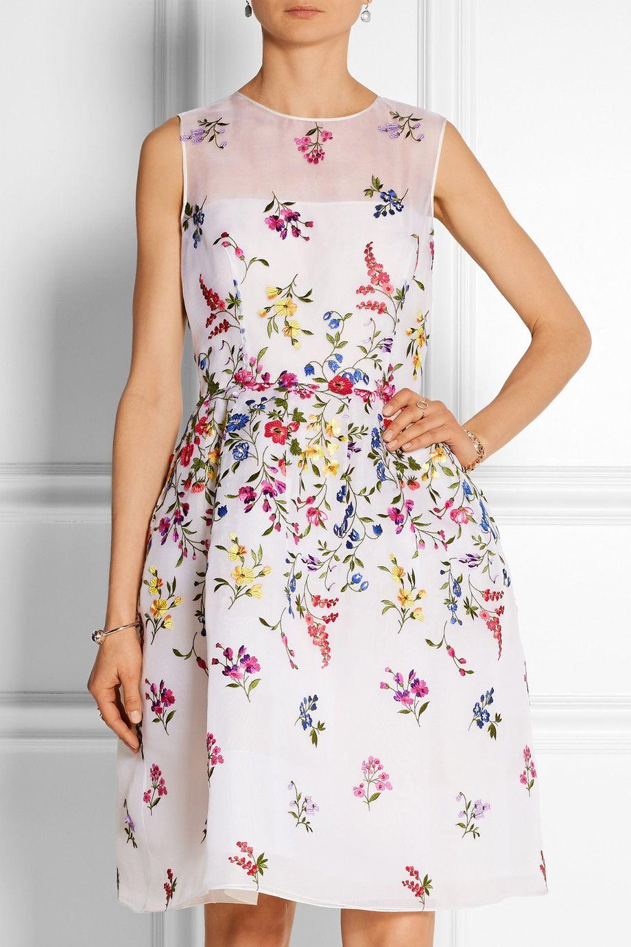 Oscar de la renta embroidered silkorganza dress netaporter