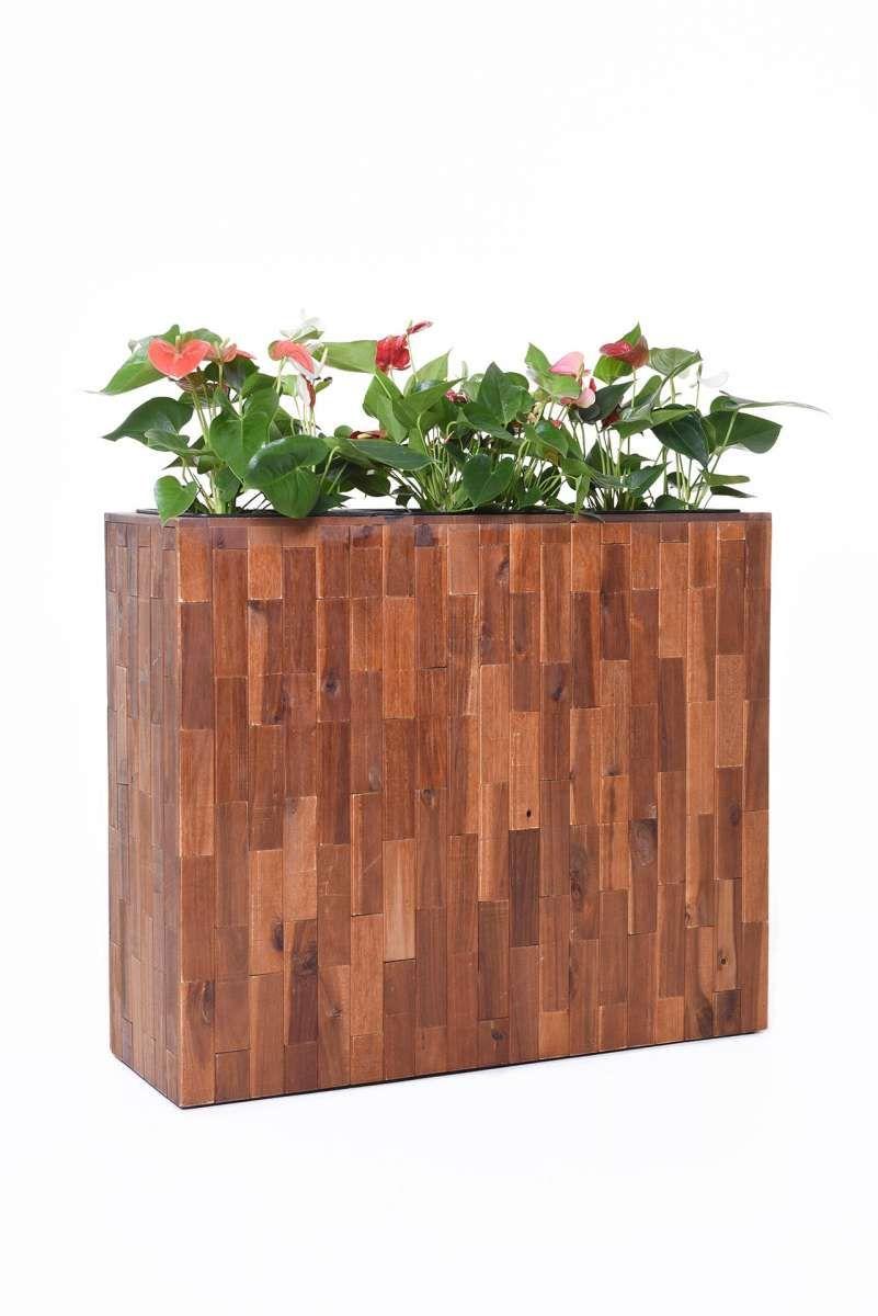 Pflanzkubel Raumteiler Holz Akazie Elemento Braun Raumteiler