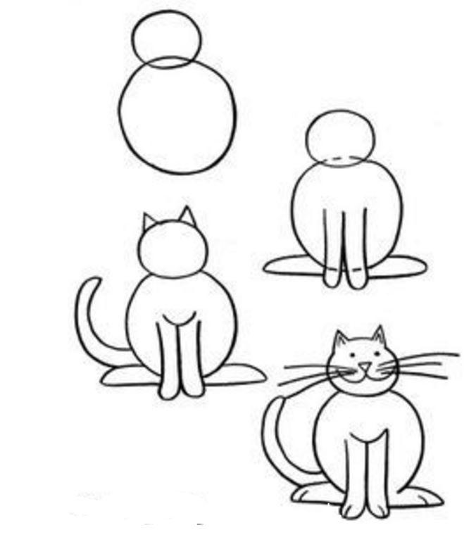 Comment dessiner un chat des mod les des dessins - Modele dessin chat ...