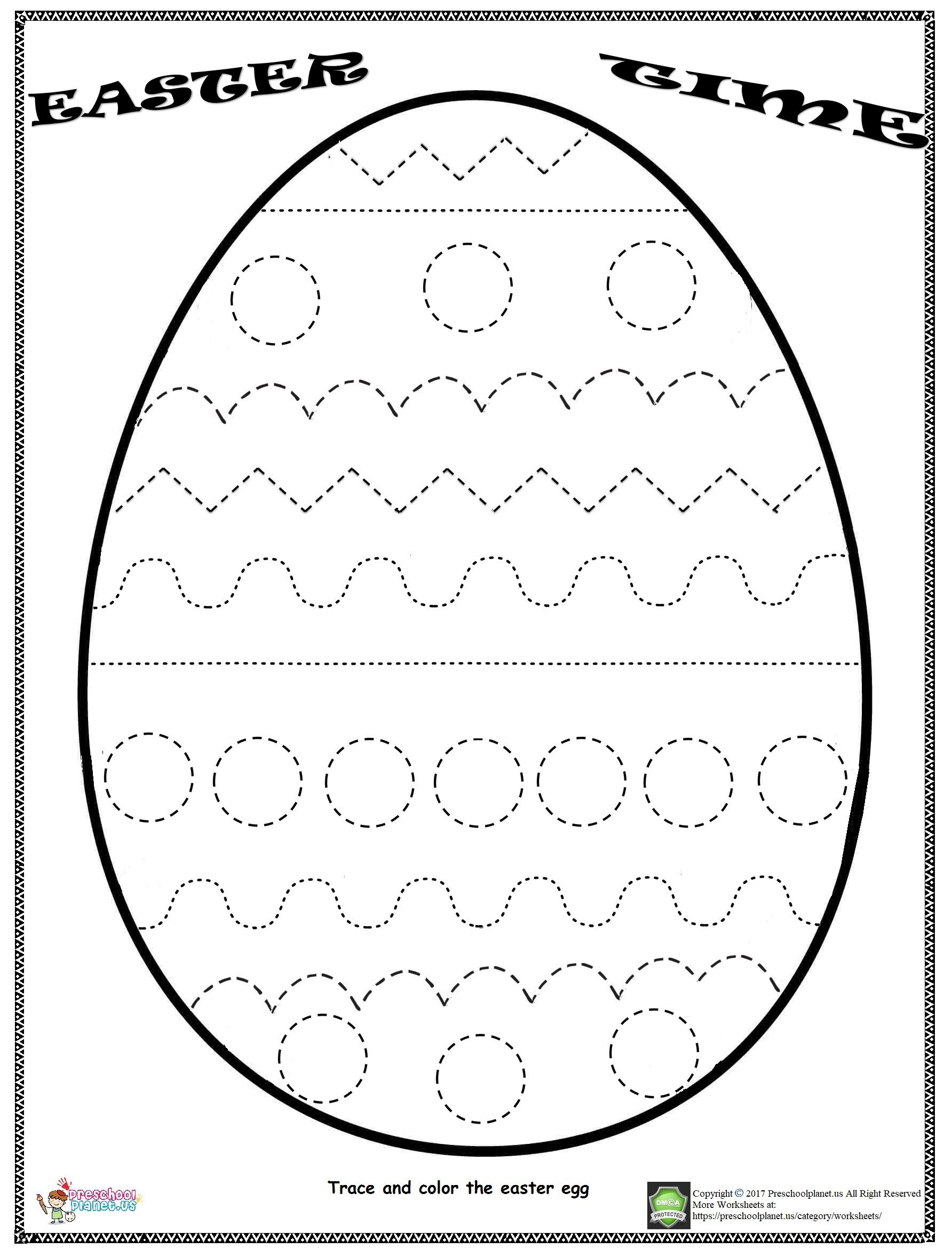 Easter Egg Trace Worksheet